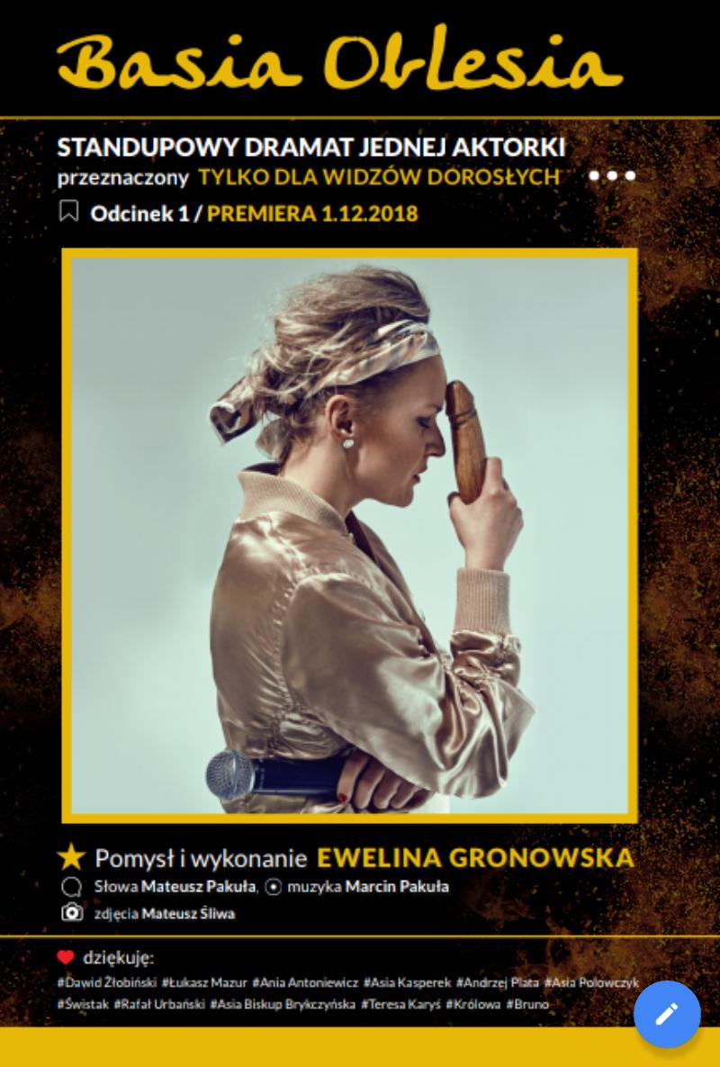 SPEKTAKL ODWOŁANY  |  Basia Oblesia – standupowy dramat jednej aktorki